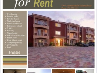 2 BED 2.5 BATH APARTMENT FOR RENT IN UPPER WATERLOO, KINGSTON / ST. ANDREW, JAMAICA