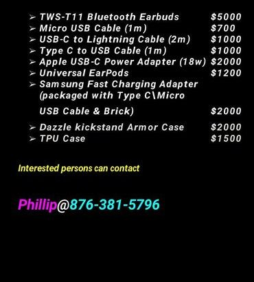 Smartphones Accessories for sale at the most competitive prices. Price List incl. Call 381-5796